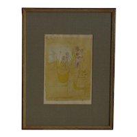 "PAUL KLEE Swiss Modern artist ""Flower Table"" Blumentisch 1920  lithograph & watercolor"" vintage lithograph"