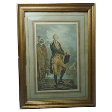 A decorative print of George Washington after an old etching belonging to the Companie Generale Transatlantique