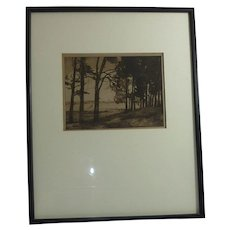 Etching tree landscape scene with a lake and a small boat unsigned