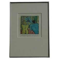 Contemporary Dutch impressionist color etching  of a woman  and man semi nude by lnez van Beusekom pencil signed