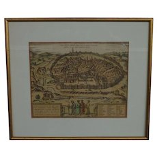 20th century map bird's - eye view of Jerusalem after Braun & Hogenberg old map made in Israel