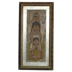 Ink and watercolor drawing of three kids possibly in Asia