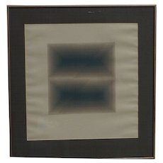 Contemporary original pencil drawing geometric abstract 1977 signed A. Villasenor