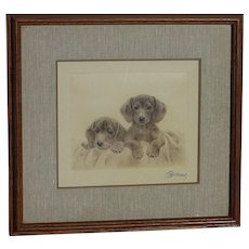 Dog art print of dachshunds by  well known German artist  Kurt Meyer- Eberhardt (1895-1977)