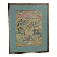 Ettore DeGrazia (1909 -1982) American impressionist artist silkscreen print hand signed dated 1970