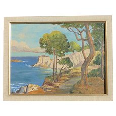 Impressionist California plein air coastal scene with cypress trees oil painting
