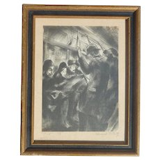 Edward F. Putz pencil signed vintage print of train commuters