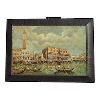 20th century Italian Art Venice Canal gondolas St. Mark's Basilica Church landscape painting artist J.Perrine