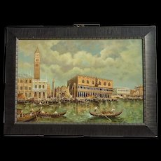 20th century Italian Art Venice Canal gondolas St. Mark's Basilica Church landscape painting artist J.Perrine