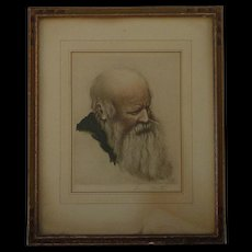 Louis Martin artist portrait of bearded old man hand colored etching signed in pencil