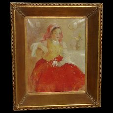 Antal Anton Peczely  (1891 - 1963) well listed Hungarian artist painting of a young girl