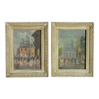 A PAIR European French school mid 1950's street scene paintings artist Bruno