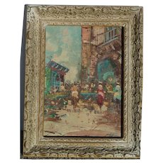 Paris street scene impressionist mid 20th century  French oil on canvas painting  unsigned