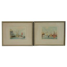 PAIR Paul Emile Lecomte (1877-1950) French well listed artist aquatint etchings of harbor with the boats and clipper ships in a dock seas