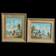 PAIR G.Pagliarini European artist Tyrolean Alps with a mountain cottages paintings
