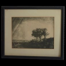 """The Three Trees"" after Rembrandt etching hand printed by Theo Beerendonk (1905 -1979)"