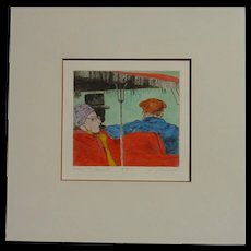 New Orleans pencil signed color etching of tourists on a street jitney woman in red outfit