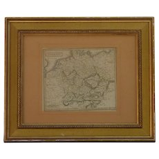 1816 Germany map color engraving print by W. Milton