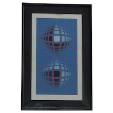 """Victor Vasarely (1908 -1997) pencil signed limited edition OP Art serigraph  titled """"REFLECTIONS"""""""
