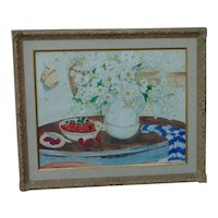 Nancy Allene Corbett American artist watercolor painting of daisies and strawberries in tabletop setting