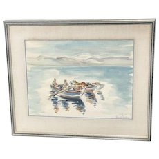 David Gilboa (1910- 1976) Jewish listed artist watercolor painting harbor with boats and figures fisherman's