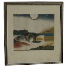 Stolen Tuvia Beeri (1929 -) Czech Republic Israeli well listed artist etching  and color aquatint geometric shapes figures landscape