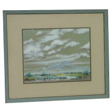 Oscar Strobel (1891 -1967) American California Arizona listed artist desert with clouds and mountains landscape watercolor gouache painting
