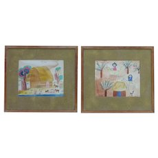 PAIR Manuel Lepe Macedo (1936 -1984) Mexican contemporary artist watercolor paintings