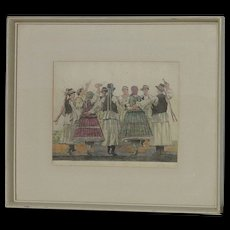 Erno Barta (1878 -1956) Hungarian well listed artist color etching of Hungarian dancers