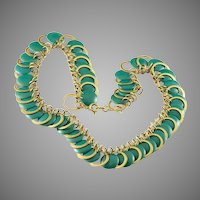 Fabulous Art Deco Teal Green Plastic Disc and Brass Ring Necklace
