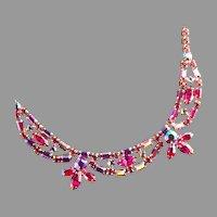 Sherman Fuchsia  Pink Rhinestone Necklace