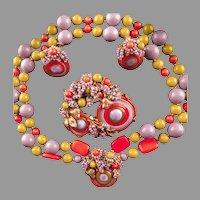 3 Pc Miriam Haskell Swirled  Glass Parure 1960's