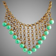 Circa 1940 Miriam Haskell Bib Necklace Turquoise  Gilded Brass