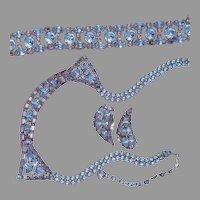 Sherman Parure Necklace Bracelet Earrings Blue Lilac Crystal