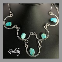 Unique & Sexy Vintage Sterling Silver & Turquoise  Necklace