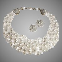Elegant Coppola e Toppo Faux Pearl Necklace Earrings 1960's