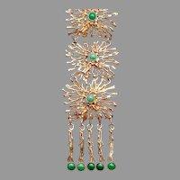 Large  Gold Washed Sterling Jade Necklace Vintage Israel