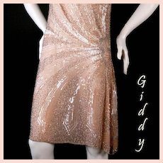 1920's Peach Beaded Flapper Dress