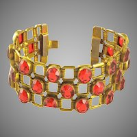Dazzling Wide Deco Red Crystal Bracelet