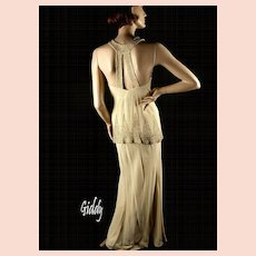 Exceptional 1930's Beaded Ivory Rayon Crepe Gown Dress
