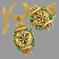 Colossal Czechoslovakian  Necklace & Bracelet Demi