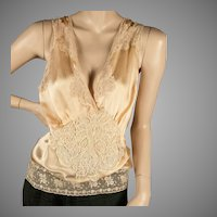 1930's  Peach Silk Camisole Three Laces