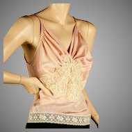 1930's Pink Silk Camisole Incredible Lace Applique Med