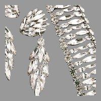 Sherman 3 1/4 In Earrings Bracelet Shimmering Ice Rhinestones