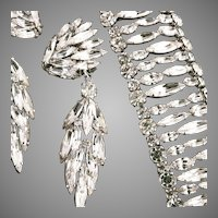 Sherman 3 1/4 In Earrings Bracelet Shimmering Ice Rhinestones