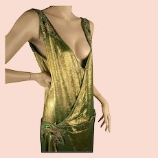 1920s Gold Lame Beaded Dress Great Sz