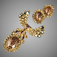 Masterpiece Brooch & Earrings Demi Austria ca 1960s