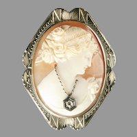 14k White Gold Cameo  En Habille Goddess Flora ca 1930