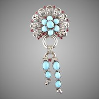1940's Crown Trifari Sterling Linked Brooch Ruby RS Turquoise Glass