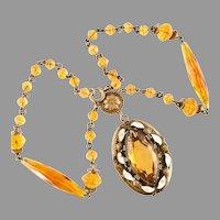 Czechoslovakian Cognac Crystal Necklace Enamel 1920's